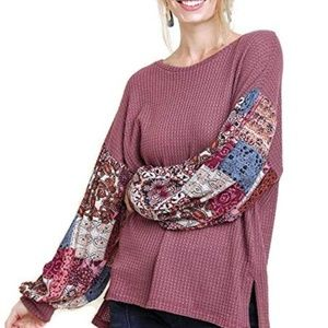 Umgee Women's Print Sleeve Waffle Knit Top SM
